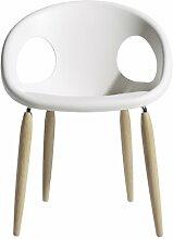 Scab Design Designer Stuhl mit Holzbeinen Natural Drop linen