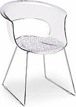 Scab Design Designer Stuhl mit Kufengestell Miss B Antishock Sledge transparen