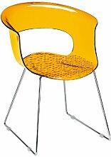 Scab Design Designer Stuhl mit Kufengestell Miss B Antishock Sledge orange transparen