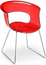 Scab Design Designer Stuhl mit Kufengestell Miss B Antishock Sledge rot transparen
