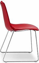 Scab Design Designer Stuhl mit Kufengestell Zebra Pop Sledge rot, Lederimita