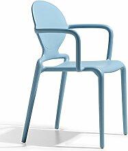 Scab Design Designer Stuhl Stapelstuhl mit Armlehnen Gio Armrests hellblau