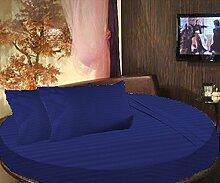 scalabedding 100% ägyptische Baumwolle gestreift rund Bett 3Stück Spannbettlaken und Kissenbezüge 600tc Twin 203,2cm Durchmesser Ägyptische blau