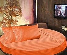 scalabedding 100% ägyptische Baumwolle gestreift rund Bett 3Stück Spannbettlaken und Kissenbezüge 400TC, Twin 203,2cm Durchmesser Brick Ro