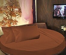 SCALABEDDING 100% ägyptische Baumwolle gestreift rund Bett 3Stück Spannbettlaken und Kissenbezüge 600tc King Durchmesser 96cm braun