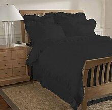 scalabedding 800TC 5teilig aus ägyptischer Baumwolle mit Rüschen Saum Bettbezug King Size/CAL King schwarz