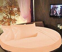 scalabedding rund Bett gestreift 6Stück Bettlaken Set 400TC, 100% ägyptischer Baumwolle King 243,8cm Durchmesser Pfirsich