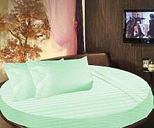 scalabedding rund Bett gestreift 6-teiliges Tabelle Fadendichte 300100% ägyptische Baumwolle King 243,8cm Durchmesser Aqua