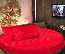scalabedding rund Bett gestreift 6-teiliges Tabelle Fadendichte 300100% ägyptische Baumwolle Queen 213,4cm Durchmesser Bright ro