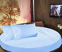 scalabedding rund Bett gestreift Spannbettlaken 100% ägyptische Baumwolle 500TC King 243,8cm Durchmesser Sky Blau