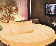 scalabedding rund Bett gestreift Spannbettlaken 100% ägyptische Baumwolle 800tc King 243,8cm Durchmesser Orange