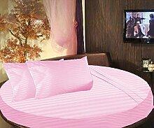 scalabedding rund Bett gestreift Spannbettlaken 100% ägyptische Baumwolle 400TC, Twin 203,2cm Durchmesser Pink