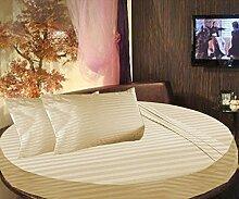scalabedding rund Bett gestreift Spannbettlaken 100% ägyptische Baumwolle 800tc King 243,8cm Durchmesser Beige