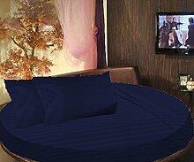 scalabedding rund Bett gestreift Spannbettlaken 100% ägyptische Baumwolle 600tc Twin 203,2cm Durchmesser Navy Blau