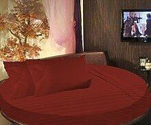 scalabedding rund Bett gestreift Spannbettlaken 100% ägyptische Baumwolle 600tc Twin 203,2cm Durchmesser Burgund