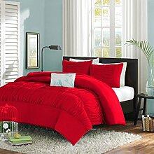 Bettbezug Set 4pcs GüNstige VerkäUfe 100% Baumwolle Doppelt Weiß Lila Gestreift Bettwäsche Bezug Möbel & Wohnen
