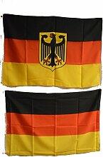 SCAMODA Fahne Flagge BRD und BRD mit Adler Fahnenset/ kleine Hissflaggen/ Doppelpack 90cm x 60cm 20162F007
