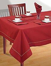 Scarlet Maroon Tischwäsche Set; 1 Tischdecke Rechteckig; 6 Servietten Und 1 Läufer; Frühling Wohnkultur