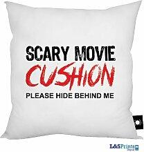Scary Movie 'Hide Behind Me Sie bitte' Design Kissen 45,7x 45,7cm hergestellt in Yorkshire tolle Geschenkidee