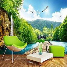 Scenic Wasserfall Holzbrücke 3D Landschaft Tapete