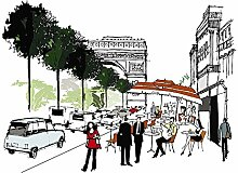 Scenolia Fototapete Champs Elysees 3x2,70m Deko +