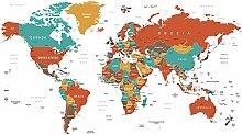Scenolia Wandbild Wandbild Red MAP 3x2,70 m Deko