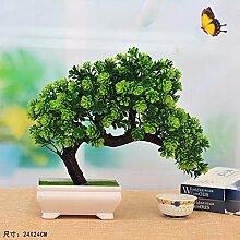 SCFLOWER Künstliche Blume Baum Bonsai Pflanze Kunststoff Töpfe Home Decor Dunkelgrün