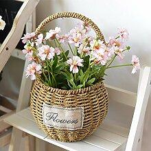 SCFLOWER Künstliche Blume Idyllische Landschaft Gras geflochtene Blumenkörbe Home Office Zimmer Zubehör,Rosa Gänseblümchen