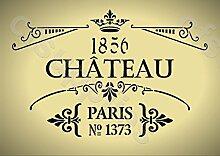 Schablone, A3, Shabby-Chic-Stil, französischer Text, für Möbel, Stoff, Glas, wiederverwendbares Mylar mit einer Dicke von 190 Mikrometer (153).