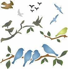 Schablone für Vögel auf Ästen,