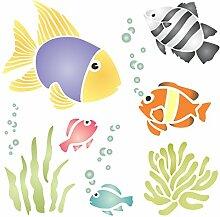 Schablone mit Meeresmotiv: tropische Fischen,