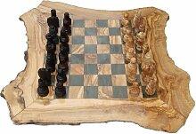 Schachspiel Schachbrett aus Olivenholz Rustikal |