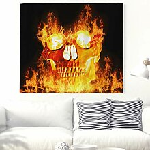 Schädel mit Feuer Wandteppich Gruselig Flammenden