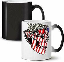 Schädel Popcorn USA Komisch Schwarz Farbwechsel Tee Kaffee Keramisch Becher 11 oz   Wellcoda