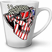 Schädel Popcorn USA Komisch Weiß Keramisch Latte Becher 12 oz   Wellcoda