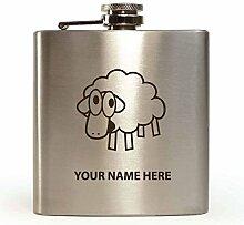 Schaf Design–personalisierbar Flachmann (mit Geschenk-Box und Trichter)