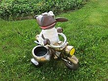 Schaf Dolly auf Motorrad mit Pflanzschale Dekofigur für den Innen und Aussenbereich Gartendeko Figur