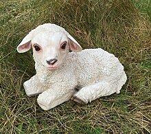 Schaf Lamm liegend Figur Dekofigur Gartendeko
