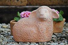 Schaf,liegend,handgefertige Terracotta,30cm,frostfes