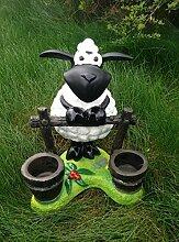 Schaf Molly am Zaun mit Blumenkübel bepflanzbar Figur Gartenfigur 41cm