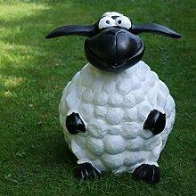 Schaf Molly Groß Dekofigur sitzend Gartenfigur Deko weiß schwarz