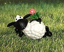 Schaf Molly liegend mit Blume Figur Gartenfigur Dekofigur 42cm