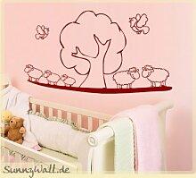 Schafe Vögel Baum Kinderzimmer Wandtattoo Farbe
