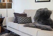 Schaffell Teppich Couchauflage Bettvorleger (Hochflor / Langflor) 95cm, anthrazi
