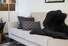 Schaffell Teppich Couchauflage Bettvorleger (Hochflor / Langflor) 95cm, schwarz