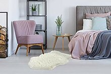 Schaffell Teppich Shaggy Weiß Weich Flauschig