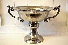 Schale mit Griffen rund auf Fuß antik-silber Aluminium Aluschale rustikal Pokal shabby ca. 40cm