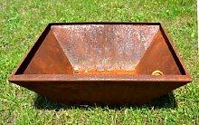 Schale Rost Pflanzschale Feuerschale Edelrost aus Metall Dekoschale Deko eckig ca. 40cm x 40cm