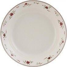 Schale, Teller ROSEN D. 22cm H. 4,5cm weiß rot Keramik Clayre & Eef (16,95 EUR / Stück)