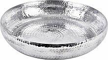 Schale XL rund Hammerschlag Design Metall silber Wasserschale (9x50x50cm)